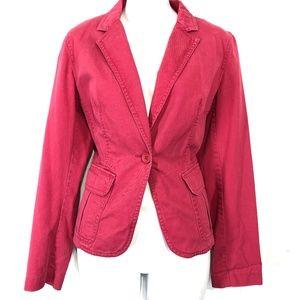 J CREW 100% Cotton Dark Pink Blazer Jacket ~sz M